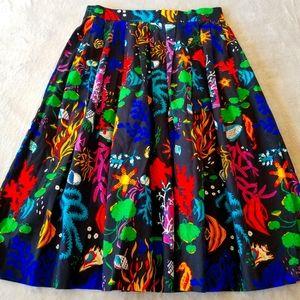 Vintage 50s Handmade Gathered Midi Skirt